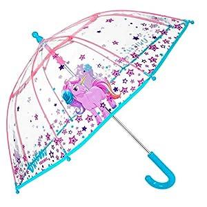 Einhorn Kinder Schirm für Mädchen – Stockschirm mit Sicherheitsöffnung – Robuster und Windfester Regenschirm mit Transparenter Kuppel – 3 bis 6 Jahre – Durchmesser 64 cm – Perletti Cool Kids