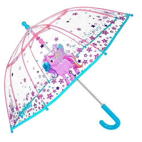 Paraguas Transparente Unicornio Niña - Paraguas Infantil de Burbuja Cupula de Colores con Estrellas Resistente Antiviento - Apertura Manual de Seguridad -3/6 Años - 64 cm Diámetro - Perletti