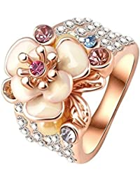 Yiwu Crystal IVORY,WHITE 18K ROSE GOLD METAL RING Fashion Jewellery For WOMEN