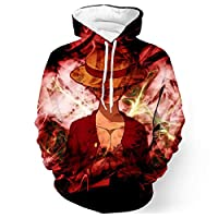 One piece luffy Series 3D Sweatshirt Europe and America long sleeve round neck pullover hooded outerwear t-shirt S