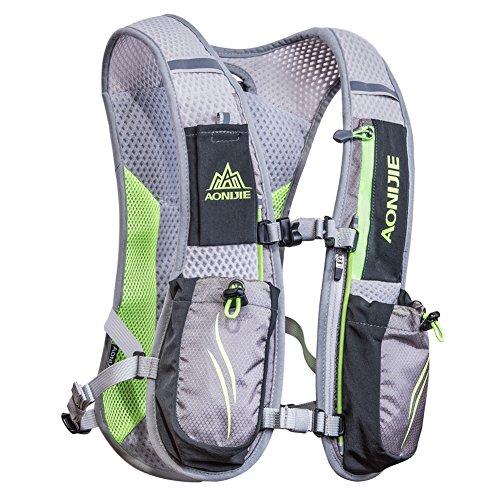 AONIJIE Running Zaini Leggeri Funzionali Hydration Pack Vest 5,5 Litri (Grigio)