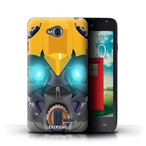 Kobalt® Imprimé Etui / Coque pour LG L65/D280 / Opta-Bot Jaune conception / Série Robots Bumble-Bot Jaune