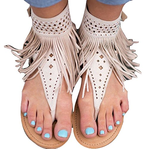 Damen Damen Flach Zip Strappy Sommer t-Bar Quaste Flache Gladiator Boho Sandalen Schuhe Tanga T-Gurt Flip Flops