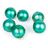 Luxury Shatterproof Peacock Christmas Tree Baubles - 6 x 80mm - Turquoise