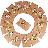 (17,5 x 11cm)16pcs Carte de Voeux avec Fleurs Séchées Etiquettes et Enveloppes, Rétro Kraft Fait à la Main, Carte Postale Pour Personne Spéciale ou Occasion Importante