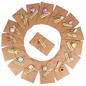 16pz 17,5*11cm Biglietto di Auguri Buste Cartolina Retro Carta Kraft Vuote Fatti a Mano Fiori Secchi Fai da Te per Matrimonio Compleanno Natale