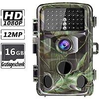 RUNACC Wildkamera 12MP 1080p Jagd Kamera mit 42 Infrarot Nachtsicht LEDs, 120 ° Detektionsbereich und 110 ° Weitwinkelobjektiv, IP56 wasserdicht Trail Kamera zur Wildbeobachtung und Haussicherheit