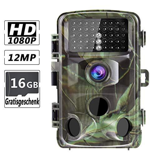 """RUNACC Wildkamera 12MP 1080p Jagdkamera Bewegungsmelder Nachtsicht 2.4\"""" LCD Wasserdicht und 110 ° Weitwinkelobjektiv, IP56 Wasserdicht Trail Kamera zur Wildbeobachtung und Haussicherheit"""