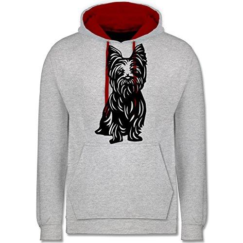 Hunde - Yorkshire Terrier - Kontrast Hoodie Grau Meliert/Rot