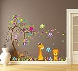 Wallpark groß Bunt Blume Baum mit Niedlich Eulen Giraffe Löwe Abnehmbare Wandsticker Wandtattoo, Kinder Kids Baby Hause Kinderzimmer DIY Dekorativ Kunst Wandaufkleber