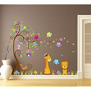 Wallpark-Grande-Vistoso-Flor-rbol-con-Lindo-Bhos-Jirafa-Len-Desmontable-Pegatinas-de-Pared-Etiqueta-de-la-Pared-Beb-Nios-Hogar-Infantiles-Dormitorio-Vivero-DIY-Decorativas-Arte-Murales