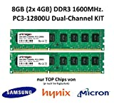 unimega 8GB (2x 4GB) Dual Channel KIT DDR3 1600MHz PC3-12800U 240PIN 1,5V PC RAM Speicher Memory mit Premium-Chips von Samsung, Hynix oder Micron