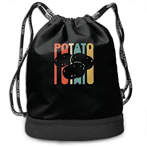 Retro Style Kartoffel Silhouette Drawstring Rucksack für Herren und Damen, 100% Polyester Athletic Handtaschen Internationalen Kartoffel