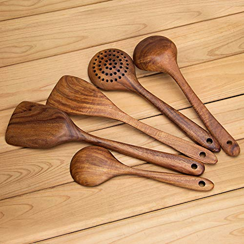 AOOSY Küchenhelfer Set Holz,5 Stück Küchenutensilien-Sets,Kochutensilien-Set aus Holz im japanischen Stil Kratzfeste Utensilien-Sets einschließlich Holzspatellöffel für Antihaft-Pfannen - 6