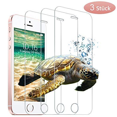 wsky Panzerglasfolie für iPhone SE 5S 5C 5 [3 Stück], 9H Härte, Anti-Kratzen, Anti-Bläschen Schutzfolie, Displayschutzfolie für iPhone SE/5S/5C/5[4,0 Zoll]