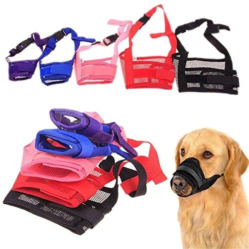 Bozal para perro de Weiye, ajustable, para ladridos y mordiscos, para perros grandes, medianos y pequeños, de nailon y malla, 1 unidad
