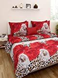 Homefab India 140 TC 3D PolyCotton Double Bedsheet with 2 Pillow Covers - Multicolour