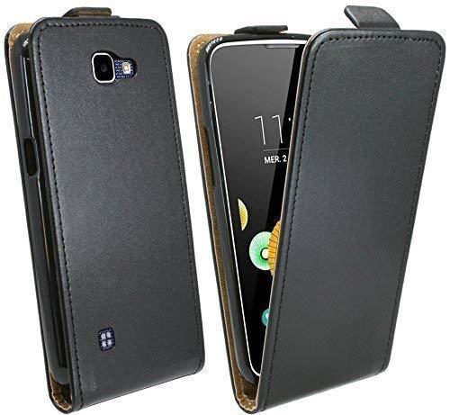 Handytasche Flip Style für LG K4 Dual Sim (K130) in Schwarz Klapptasche Hülle @ Energmix