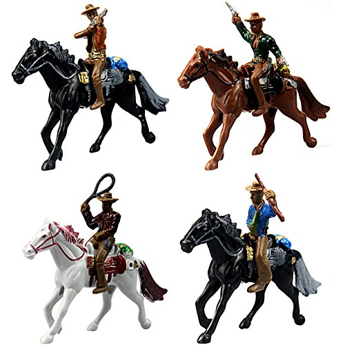 Cowboys Gunslingers mit Pferden Miniaturen für Fairy Garden, Kuchen Topper, Spielzeug, Aquarium Terrarium–Set von 4 (Fairy Garden Pferd)