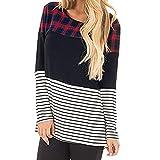 TOPKEAL Top Damen Sommer Herbst Lässige Plaid Streifen Patchwork Bluse Langarm Tunika Shirt 2018 Mode Oberteile