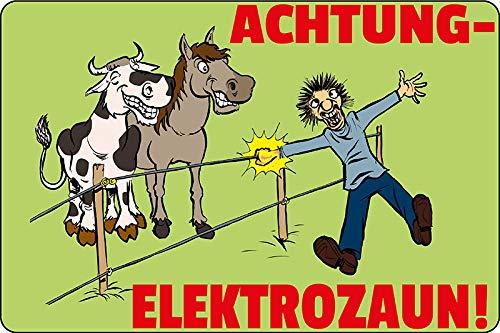 Blechschild Achtung elektrozaun! Warnschild