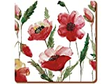 """Creative Tops Watercolour Poppy Premium 6-Piece Set of Cork-Backed Coasters by, 10.5 (4"""")"""