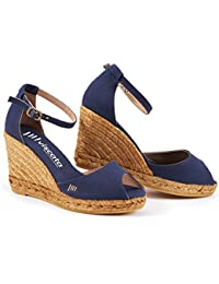 VISCATA Aiguafreda Elegant Comfort, Canvas, Ankle-Strap, Open Toe, Espadrilles with 3-inch Heel Made in Spain