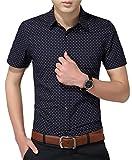 AIYINO Herren Freizeit Hemd Kariert Drucken Kontrast 100% Baumwolle Business Langarmshirts 13 Farben (Medium, K-Navy)