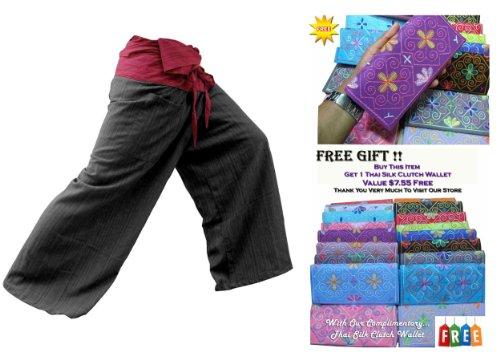 Thai Fisherman Pants Yoga pour Femme 2Tons sans Taille Plus Taille en coton à rayures