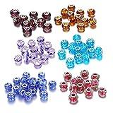 60 Charms Abalorios Cristal Abalorios Redondos de Cristal con una Flor para Fabricación de Bisutería Manualidades de Abalorios,DIY Regalo Hacer Pulsera Collar