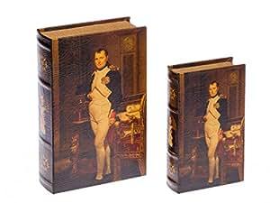 Lot de 2 écrins/faux livres - motif Napoléon 1er