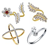 #8: Aabhu American Diamond Stylish Combo of 4 Party Wear Finger Rings Jewellery For Women And Girls