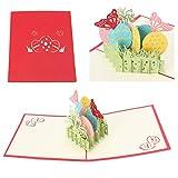 Jiamins 3D Schmetterling Grußkarte Pop Up Paper Cut Postkarte Geburtstag Valentines Geschenk