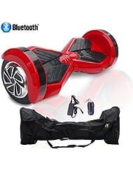 Cool&Fun Patinete Eléctrico Hoverboard Niños 2 Ruedas 8 Pulgada (Negro rojo) (RedB)