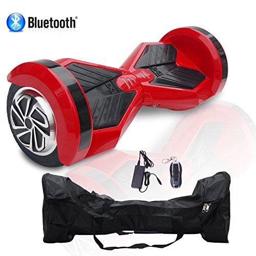 Cool&Fun Patinete Eléctrico Monopatín Eléctrico Auto-equilibrio 2 Ruedas 8 Pulgadas LED (Negro rojo) (RedB)