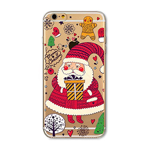 Christmas Hülle iPhone 6 / iPhone 6s 4.7 inch LifeePro Weihnachts Cover Ultra dünn Weiches Transparent TPU Gel Silikon Handy Tasche Bumper Case Anti-Scratch Back Cover Full Body Schutzhülle für iPhone Santa Claus and Gift