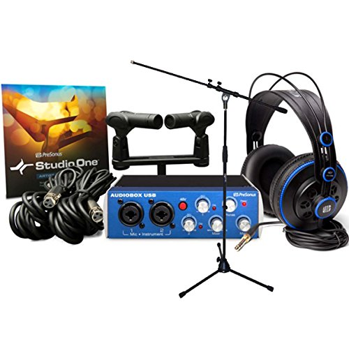 Presonus AudioBox Stereo Recording Kit Aufnahme-Bundle + KEEPDRUM MS106 Mikrofonständer