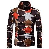 Stehkragen Pullover Herren Herbst Winter Mode Pullover Kaiki Arrow Gedruckt Thermo-Unterwäsche (Small,Braun)
