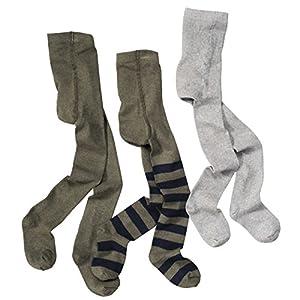 WELLYOU leotardos para bebés/niños pantimedias para niños, medias para bebés/niños medias verde oliva, verde con rayas y gris, conjunto de 3, tallas 62-146 16