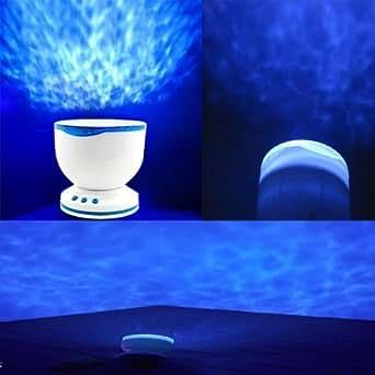 amzdeal® Jeu de lumière, lumière douce nuit, Ciel d'océan, lumière du projecteur d'océan, Veilleuse,Très Populaire Romantique Ocean Mer Vagues Daren Projecteur Lampe Mini Enceinte IPhone MP3 LED Nuit Lumière
