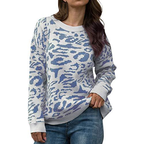 LILICAT_Kleid Damen Herbst Elegant Langarmshirts Lässige Crew Neck Sweatshirts Classic Slim Fit Pullover Mode Strickpullover Strickwaren Top Basic Printing Strick Langarmshirt -