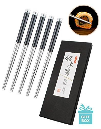AckMond 5 par palillos de acero inoxidable de alta calidad restaurante chino japonés palillos Set (acero inoxidable y negro) width=