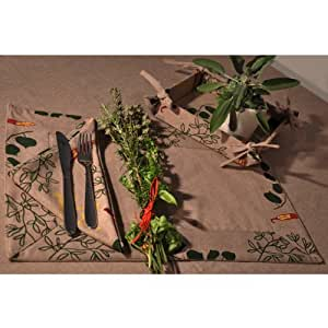 Sets de table x 4 (33x48 cm) en tissu de coton bio-Coloris de fond taupe