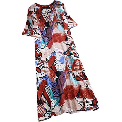 kolila Damen Kleider Tunika Sommer Kühler Leinen Midi-Kleid Ethno Stil Gedruckt Kurzarm V-Ausschnitt mit Knopf(Rot,2XL) -
