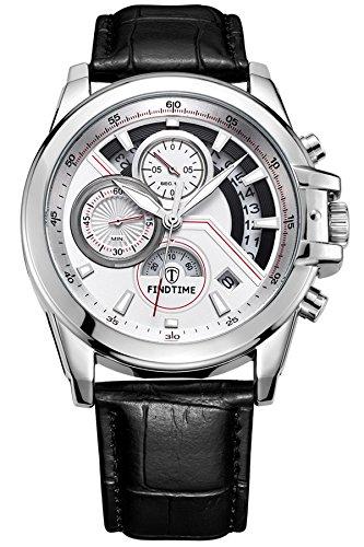 Findtime Watches Men Leather Black Skeleton Sport with Chronograph Calendar Date Analog Quartz Fashion Design Casual Military Professional
