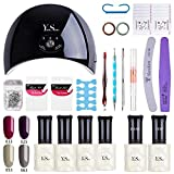 KIT MANUCURE SEMI PERMANENT - Y&S Vernis à ongles Gel Kit Vernis Semi permanent Gel Coffret, Gel 4 Colors 8ML Nude Rouge Gris Brun+ Top Base+ Lampe LED 24W + Accessoires Manucure