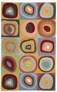 Zaida Tapis en laine et coton Motif inspiré de Kandinsky Carrés et cercles concentriques 150 x 90 cm