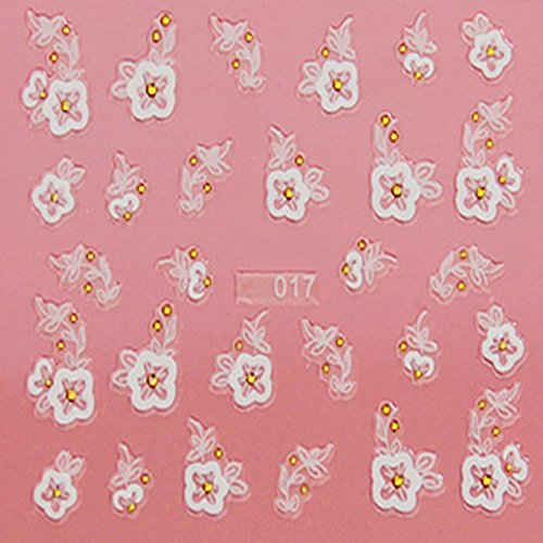 EVTECH (TM) 5 PCS Nail Art Nail Sticker outil 3D Autocollant Craved Fleurs Papillon Coeur amour Sourire Blossom Belle Nail Sticker Tatoo