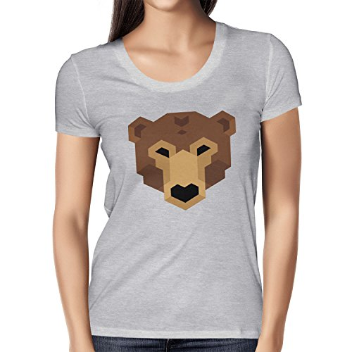 TEXLAB - Simple Bear - Damen T-Shirt Grau Meliert