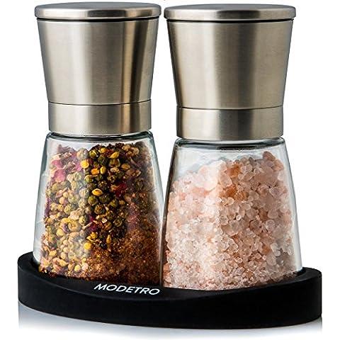 Set macina sale e pepe con supporto in silicone - Esclusivo macinino per sale e pepe con granulatore regolabile in ceramica - Parte superiore in acciaio inox contenitore in vetro